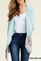 Blue-grey Striped Cardigan