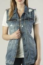 Mia Distressed Denim Vest