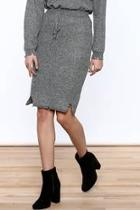 Grey Distressed Pencil Skirt