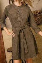 Olive Belted Suede Dress