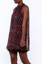 Mock Neck Printed Dress