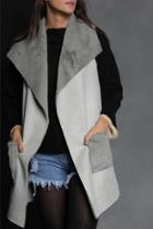 Valerie Suede & Knit Long Vest W Pocket