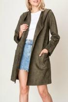 Suede Hooded Blazer-coat