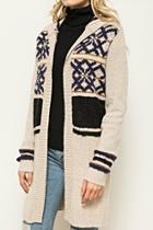 Pattern Hoodie Cardigan