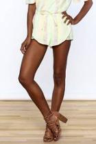 Yellow Stripe Print Shorts