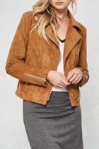 Camel Faux-suede Moto-jacket