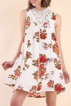 White-floral Print Dress