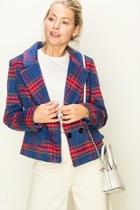 Plaid Button Blazer