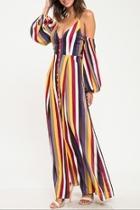 Multi-stripe Cold-shoulder Dress