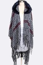 Faux-fur Hooded Shawl-scarf