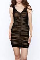 Black Sleeveless Ruched Dress