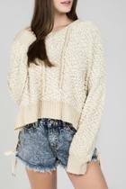 Nubby-chenille Hoodie Sweater