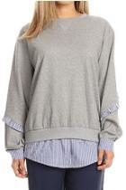 Pinstripe Ruffle Sweatshirt