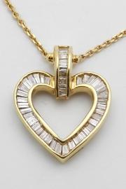 Diamond Heart Pendant 14k Yellow Gold .85 Ct Baguette Open Heart Pendant Necklace Chain 16