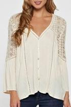 Cream Lace-shoulder Top