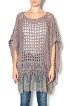 Lace Bottom Poncho Sweater
