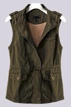 Olive Faux-fur Vest