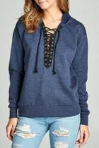 Blue Laceup Sweater