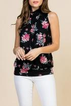 Floral-print-mock-neck Pleated-sleeveless-top
