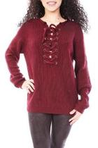 Wine Lace Up Sweater