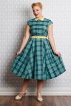 Willow-mint Tartan Shirt-dress