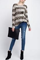 Striped Animal Print Top