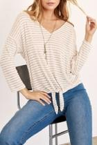 Striped Tie-front 3/4-sleeve