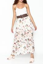Belted Floral Skirt