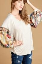 Plaid Bishop-sleeve Top