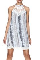 Blue Lace Trim Dress