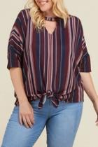 Striped Keyhole-cutout Top