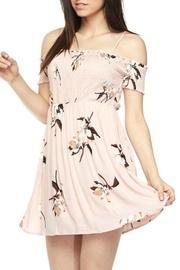 Floral Cold-shoulder Smock-dress