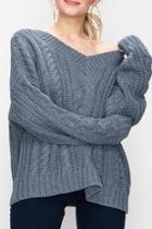 Blue Cable-knit Sweater