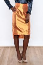Orange Silk Pencil Skirt