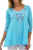 Aqua Embroidered Tunic