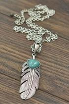 Natural-turquoise Feather-pendant Necklace