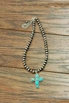 Natural Turquoise Cross-necklace