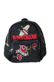 Black Nylon Stripe Blind For Love Patch Backpack