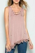 Lace-up Crochet-trim Top