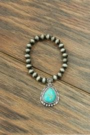 Natural-turquoise Charm Stretch-bracelet
