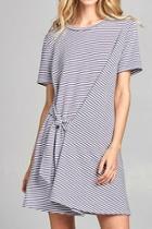 Tie-accent Striped Dress