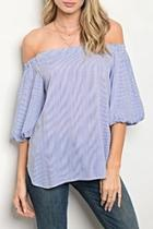 Offshoulder Blue Blouse