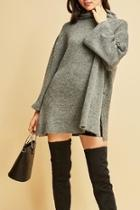 Funnel-neck Tunic Sweater