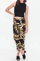Linen Printed Cropped Pants