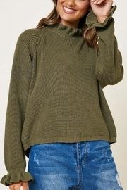 Olive Ruffle Neckline Knit Top
