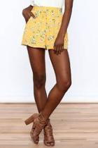 Bright Yellow Floral Shorts