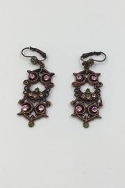 Copper Pink-crystal Earrings