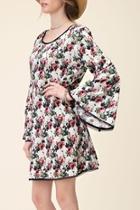Floral Navy-trim Dress