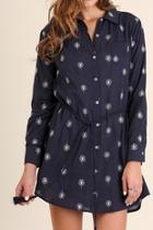 Navy Printed Shirtdress
