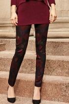 Burgundy Printed Leggings